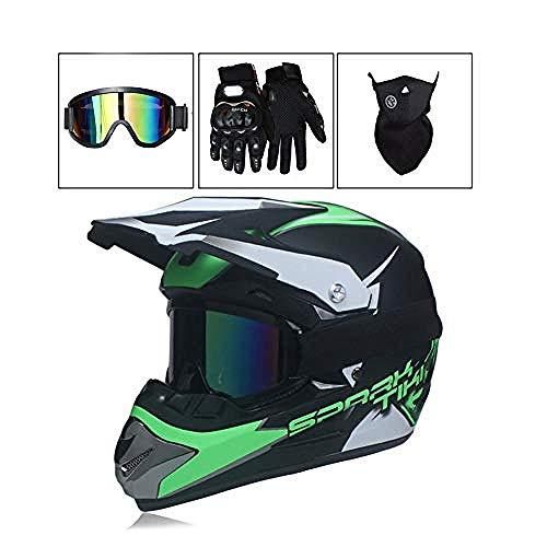 Casco de Motocross Casco de Moto para Hombre con Gafas Guantes Máscara...