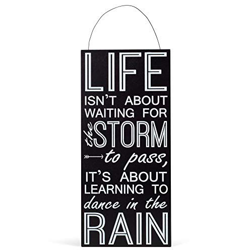 Adams Manufacturing Learn to Dance in The Rain 6 x 14 Black and White Hanging Wood Sign Plaque