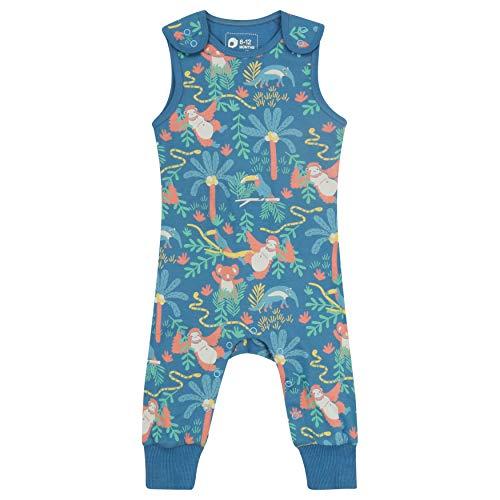 Salopette pour bébé + Tout-Petit, Doux + Confortable, Coton Biologique, imprimé Animal menacé pour Filles et garçons - Bleu - 6-12 Mois