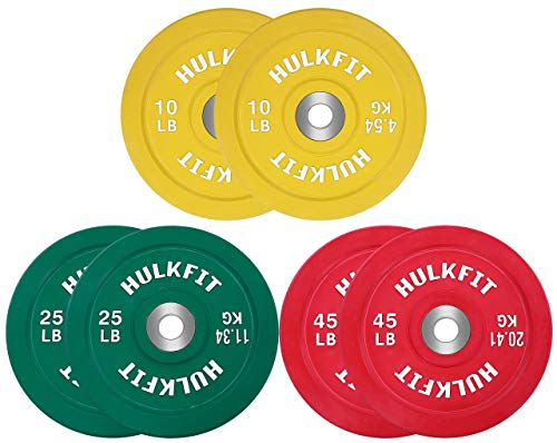 HulkFit Color Coded Olympic 2-Inch Rubber Bumper Plate with Steel Hub for Strength Training, Weightlifting and Crossfit, Single (Set: 160 Pounds)