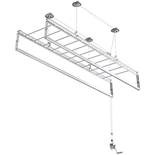 YJKDM Tendedero Plegable, Elevador de balcón/Cuatro Postes manuales/Poste para Colcha de Ropa, para instalación en el Techo (Longitud 150 cm)