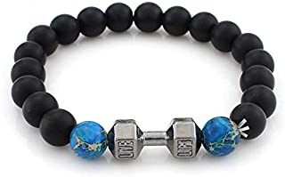 MENS BRACELET METAL DUMBBELL SILVER,BLACK AND NATURAL DEEP BLUE LAVA BEADS STRETCHABLE 6MM THICK BEADS