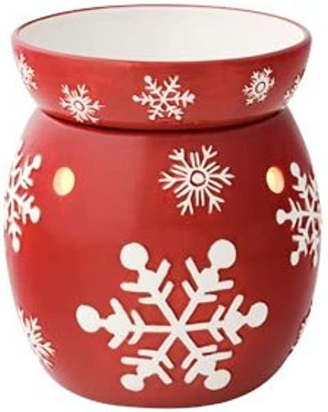 Scentsy Red Snowflake Fullsize Warmer For Melting Scented Wax