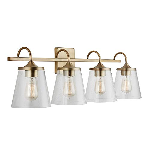Capital Lighting 139142AD-496 33.25 Inch 4 Light Bath Vanity, Aged Brass Finish with Clear Seeded Glass