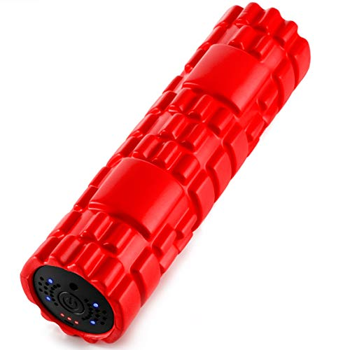 SUVIUS Electric Vibrating Rechargeable Foam Roller - 4 Intensity Levels for Firm Battery-Powered Deep Tissue Recovery, Training, Massage - Therapeutic Back and Muscle Massage Roller (Medium, Red)