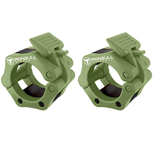 Barbell Collars (Pair) – Locking 2' Olympic Size Weight Clamps - Quick Release Collar Clips – Bar Clamps Great for Weight Lifting, Olympic Lifts and Strength Training (Army Green)