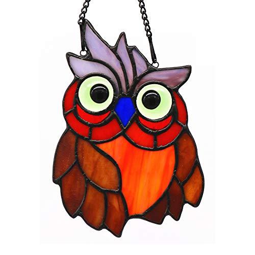 HAOSUM Owl Bird Stained Glass Window Hanging Suncatcher 55 × 39 inches