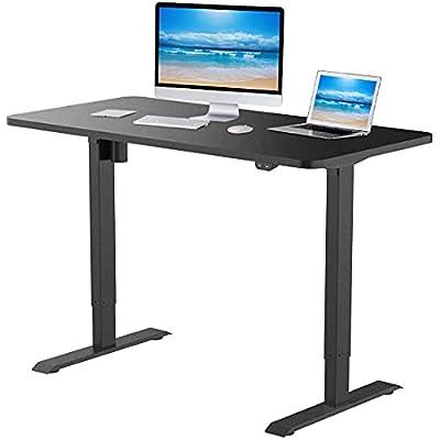 Flexispot Standing Desk, 48 x 30 Inches Height Adjustable Desk, Electric Sit Stand Desk Home Office Desks Whole-Piece Desk Board (Black Frame + 48 in Blacktop)