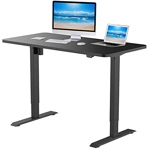 Flexispot EC1 Standing Desk 48 x 30 Inches Height Adjustable Desk Electric Sit Stand Desk Home Office Desks Whole Piece Desk Board (Black Frame + 48 in Blacktop)