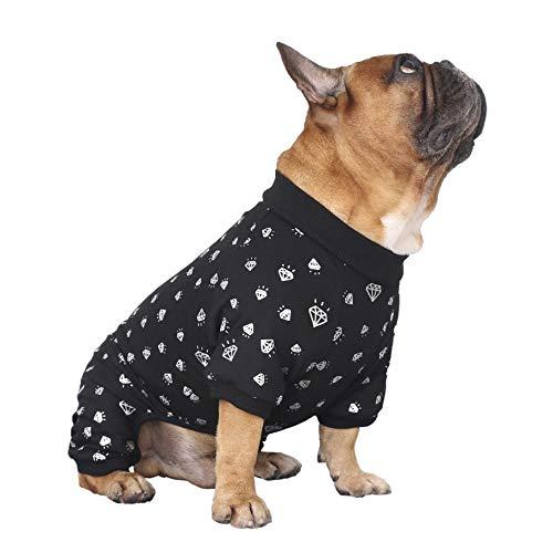 iChoue Rich Dog Series Haustier-Pyjama, Jumpsuit mit französischer Bulldogge, Mops, Boston Terrier, T-Shirt – Black Diamond L