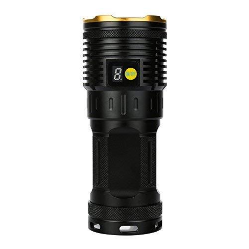 LED Linterna 50000 lúmenes, fundido Power 15 x XM-L T6 LED Pantalla Digital superbrillantes CREE LED impermeable portátil antorcha, 3 ajustes claro, con 4 x 18650 batería de litio recargables (Dorado)