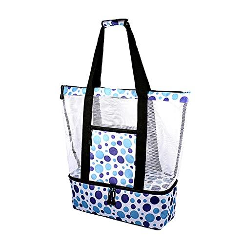 Letway Bolsa de pícnic de malla con cremallera de gran tamaño, bolsillo cerrado con cremallera, bolsa de playa, bolsa de pícnic para mujeres, bolsa de transporte de gran tamaño.