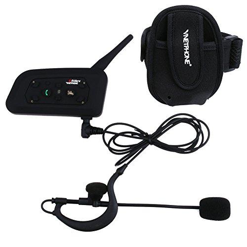 Vnetphone V6C Walkie Talkie portátil con Receptor de una Sola Cabeza y Bolsa de Brazo Juegos de Escalada en Bicicleta Comunicador Transmisor Transmisor