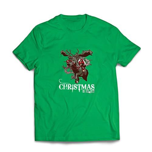 lepni.me Camisetas Hombre La Navidad se Acerca Ideas de Regalos de Santa Navidad (Large Verde Multicolor)