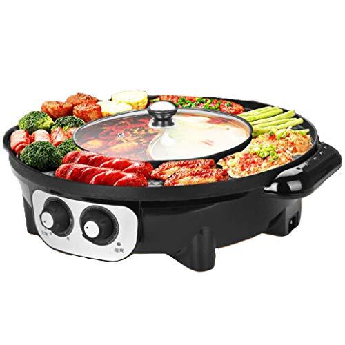 RHSMP Elektrische Haushaltsbackform Elektrischer koreanischer Grill Hot Pot Maifan Stone Multifunktionaler und heißer Topf Tischgrill 2 in 1,Schwarz,BBQ+hotpot