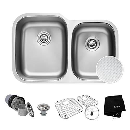 KRAUS Outlast MicroShield Scratch-Resist Stainless Steel Undermount 60/40 Double Bowl Sink, 32' 16 Gauge, Premier Series KBU24E