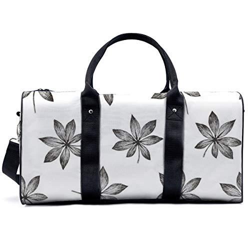 Bolsa de deporte para gimnasio, plantas trópicas, floral, sin costuras, selva, Aralia, bolsa de hombro, bolsa de viaje, bolsa de viaje para hombres y mujeres