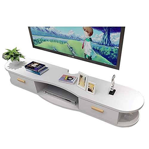 Peakfeng Mobile TV, TV Lowboard, Scaffali galleggianti, Scaffale per componenti per TV Galleggiante, Console TV a Parete, 100 120   140 150 cm Tavolo TV in Legno Media Scaffale per stoccaggio.
