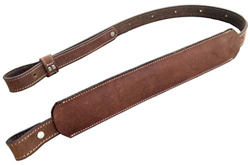 Padded Leather rifle Sling 1 inch brown wide vintage stitched adjustable strap (Tan TS)