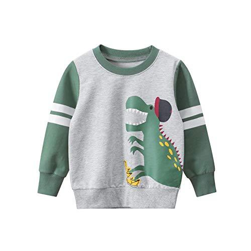 XIELH Ropa Infantil para Suéteres De Otoño/Invierno para Niños, Ropa De Dinosaurio para Bebés, Ropa para Niños, Flor Gris/Verde, 100Cm