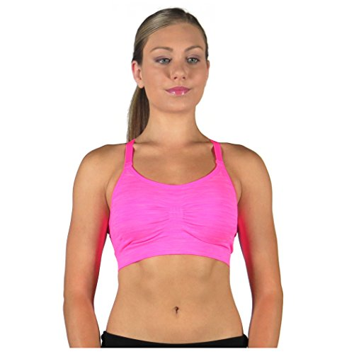 Alex + Abby Damen Lotus Sport BH Racerback Gepolstert Nahtlos - Pink - small