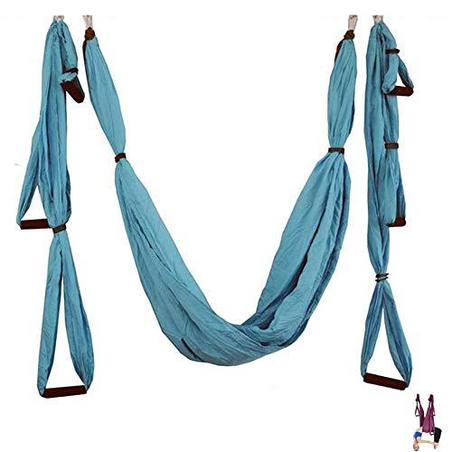N/D Yoga Hamaca Gimnasio Fuerza de inversión antigravedad tracción aérea Yoga Swing Cinturón, Aéreo Yoga Swing Set, antigravedad Que cuelga del Techo de Yoga Honda,Azul