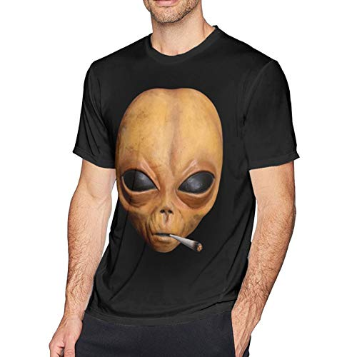 Lil Alien UFO Mayo Smoking Weed Hip Hop Extraterrestrial Plug Pullover Hoodie -(1) Short Sleeve T Shirts for Men Black