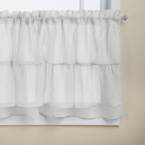 Lorraine Home Fashions Gypsy Shabby Chic Layered Ruffle Window Tier Pair, 60 by 24-Inch, White