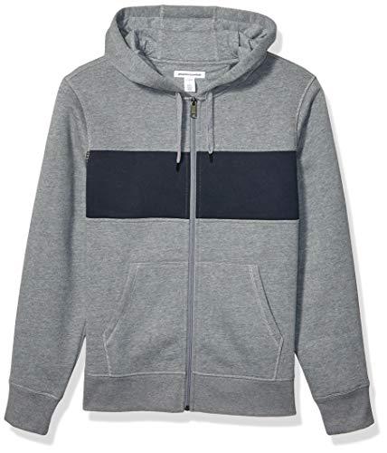 Amazon Essentials Men's Full-Zip Hooded Fleece Sweatshirt, Light Grey Heather/Navy Stripe Small