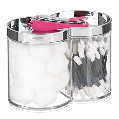mDesign Contenitori in plastica impilabili – Pratico barattolo diviso in due settori con coperchio – Ideale per accessori da bagno come dischetti di cotone e cotton fioc – trasparente/argento