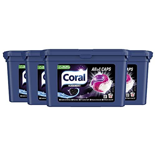 Coral Allin1 Waschmittel Caps Black Velvet Colorwaschmittel für dunkle Wäsche mit langanhaltendem Duft 4 x 16 WL (= 64 Caps)y, 1356 g