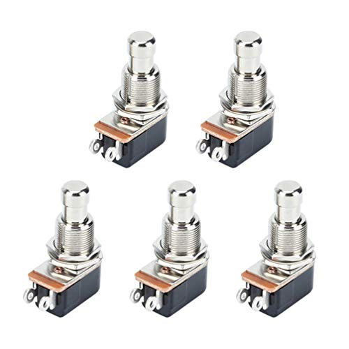 Healifty 5 Piezas Efectos de Guitarra Pedal Botones Selector Interruptor Momentáneo Metal 2 Pin Interruptor de Pie Guitarra Eléctrica Pedal Pulsador