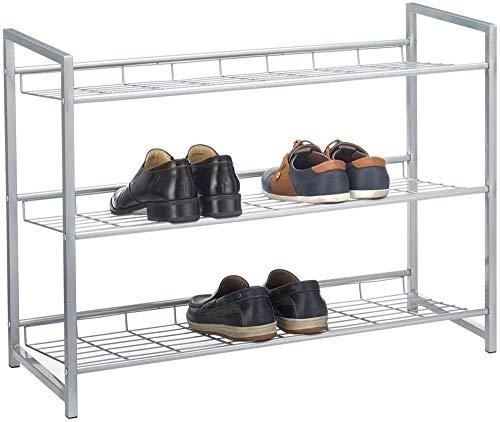 A-Generic Sistema de Zapatos Sistema Sticker Sticker Bandeja de Zapatos con 2 Compartimentos para Aprox. 8 Pares de Zapatos, 80 cm de Ancho, Metal Plateado Lacado-3