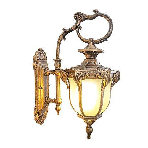 WMMCM Moderne buitenverlichting waterdichte wandlamp buitenwandlamp metaal zwart, goud, glas klassieke buitenkant Porch 38 x 20 cm
