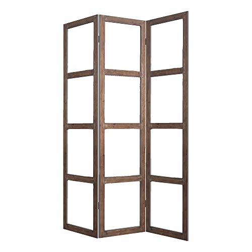 Best Price Benjara, Brown and Clear 3 Panel Wood and Glass Screen with Window Pane Design