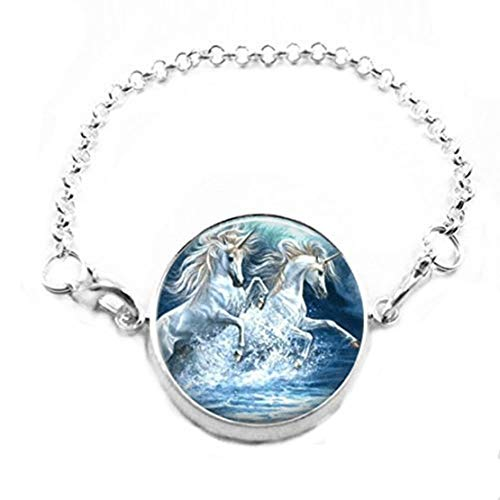 memory Pulsera de Azulejos de Cristal, joyería de Azulejos de Cristal, Pulsera de Unicornio, joyería de Unicornio, Pulsera de joyería de Animales, Pulsera de Cadena de Plata