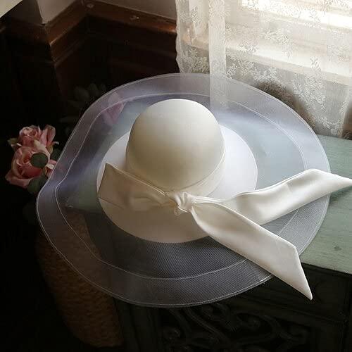 chenfeng Bridal Veil hat Luxury Large Brim Mesh Bucket Hat White Satin Bowknot Ribbon Fedora Hat Ladies Bride Hat (Color : As Photo, Size : M56-58cm)