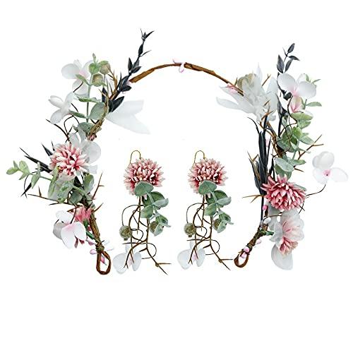 xingguang Nupcial tocado de imitación flor aro guirnalda pendientes conjunto playa fiesta mujeres headwear novia