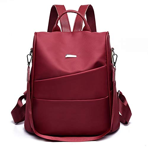 REBKW Mochila portátil para la escuela, casual, de gran capacidad, impermeable, Oxford, multifuncional, para mujer, de viaje, antirrobo, de moda, de hombro (rojo vino, China)