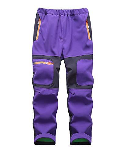 DaiHan Niños niñas Pantalones Softshell Impermeable Forro Polar Pantalones de Trekking Pantalones de Escalada para Deporte al Aire Libre Púrpura M