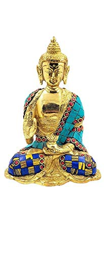 Brass Buddha Statue Gautam Buddha Idol Sculpture,Worship Indoor Home Room Office Meditation Decor Gift Yoga Tibetan Buddhism Amitabha Figurine with Blue and Turquoise Stone Size -7 inch