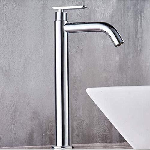 SPRINGHUA Grifo de agua para cocina cepillado grifo monomando de lavabo de baño grifo de lavabo mezclador de baño grifo de latón cromado alto compatible con agua fría