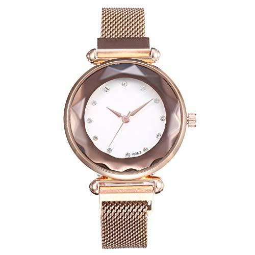 SJY Reloj de la Muchacha Moda Creativa Reloj de Pulsera Imán Hebilla Reloj Femenino Diamante Espejo Cuarzo Reloj de Dama Reloj Impermeable a Prueba de Agua Reloj de Malla,Gold