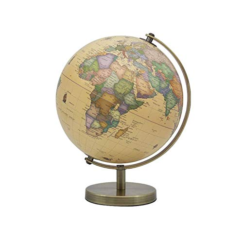 HomeZone Black and Silver Rotating Globe - World Map Global Atlas - Geography Learning Tools - Decorative Home Accessories (Vintage Style)