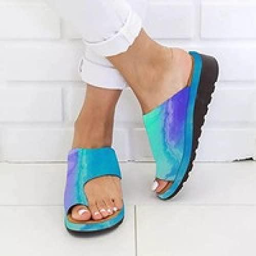 NISHIWOD Zapatillas Casa Chanclas Sandalias Zapatillas Casuales para Mujer Suela Plana Sólida Cómodo Dedo Gordo Sandalias De Playa para Mujer Zapatos Ortopédicos con Plataforma 44 Verde