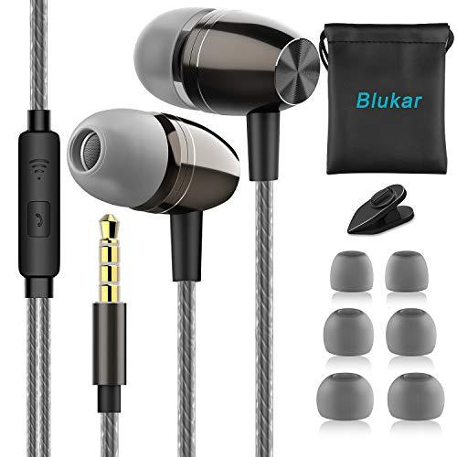 Blukar Auriculares In Ear, Auriculares con Cable y Micrófono Headphone Sonido Estéreo Aislamiento de Ruido para Huawei, XiaoMi, Samsung, PC, MP3/MP4 y Todos los Dispositivos de Auriculares de 3.5 mm