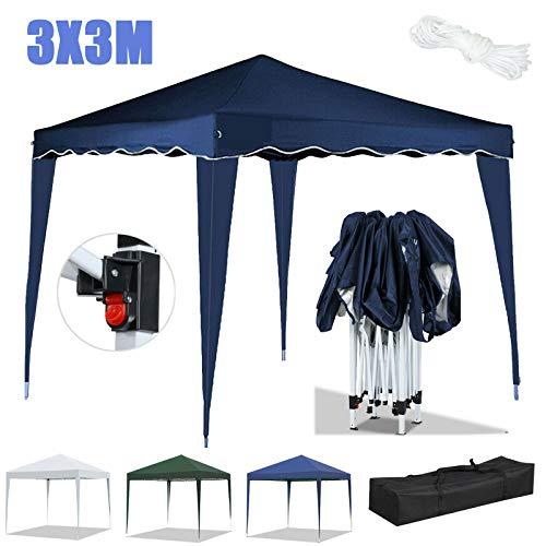 Huini 3x3m Folding Pop Up Pavillon Wasserdichter UV-Schutz 50+ Pavillon ohne Seitenwände Gartenparty Hochzeit Outdoor-Aktivitäten Zelt Festzelt Markise-Grün
