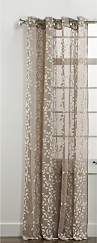 Stylemaster Home Products Twill and Birch Jillian Embroidered Sheer Grommet Panel, 55 by 84-Inch, Java