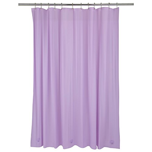 Bath Bliss Heavy Shower Curtain Liner, 12 Rust Resistant Metal Grommets, 3 Weighted Magnet Hem, Lilac, Purple