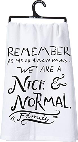 Primitives by Kathy 25260 LOL Made You Smile Dish Towel, 28' by 28', Nice and Normal